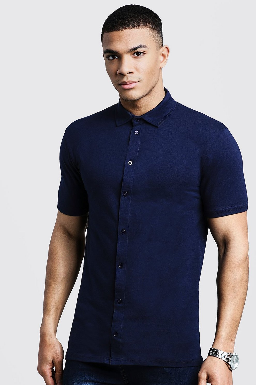 e8c3526a4 Mens Navy Muscle Fit Short Sleeve Jersey Shirt. Hover to zoom. Close video