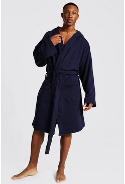Navy Man Signature Jersey Hooded Dressing Gown