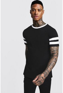 Mens Black Contrast Panel Short Sleeve T-Shirt