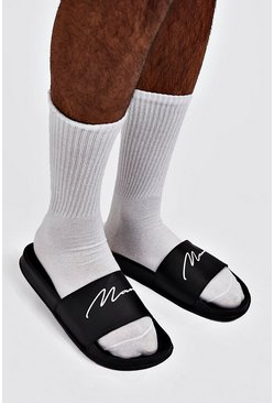 Mens Black MAN Script Slider