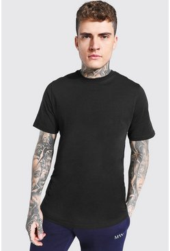 Black Short Sleeve Longline T Shirt with Curve Hem
