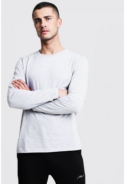 Grey Basic Long Sleeve Crew Neck T Shirt