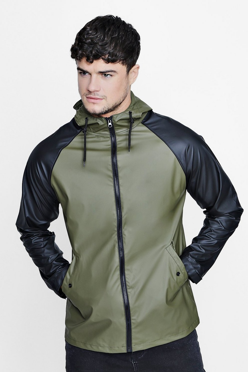 2d3a25843863c Colour Block Hooded Jacket - boohooMAN