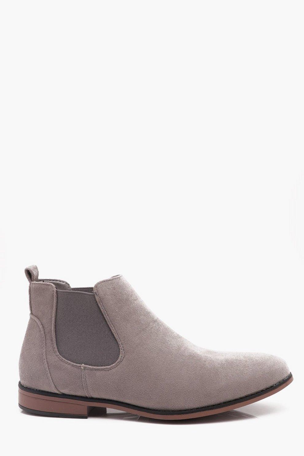 caf6dc51cc1fd Light Grey Faux Suede Chelsea Boots - boohooMAN