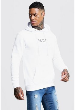 White Original Man Print Over The Head Hoodie