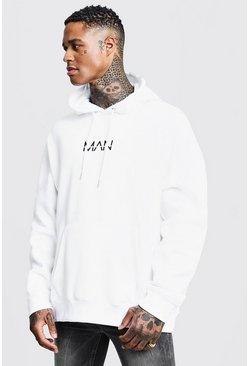 Mens White Oversized Original MAN Print Hoodie