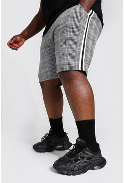 Black Plus Check Jacquard Mid Length Shorts