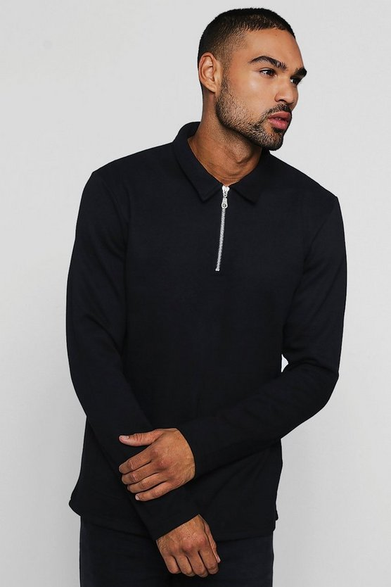 Black Sweater With Collar And Zip