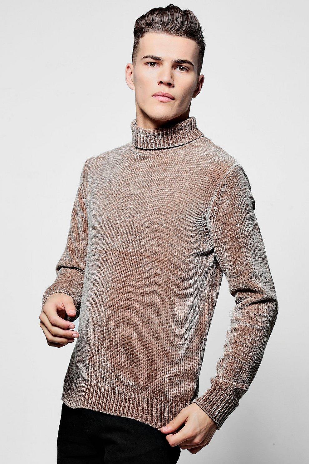 85f6eabac Roll Neck Sweater In Chenille - boohooMAN