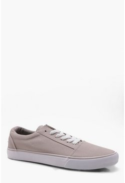 Mens Beige Lace Up Toe Cap Plimsole