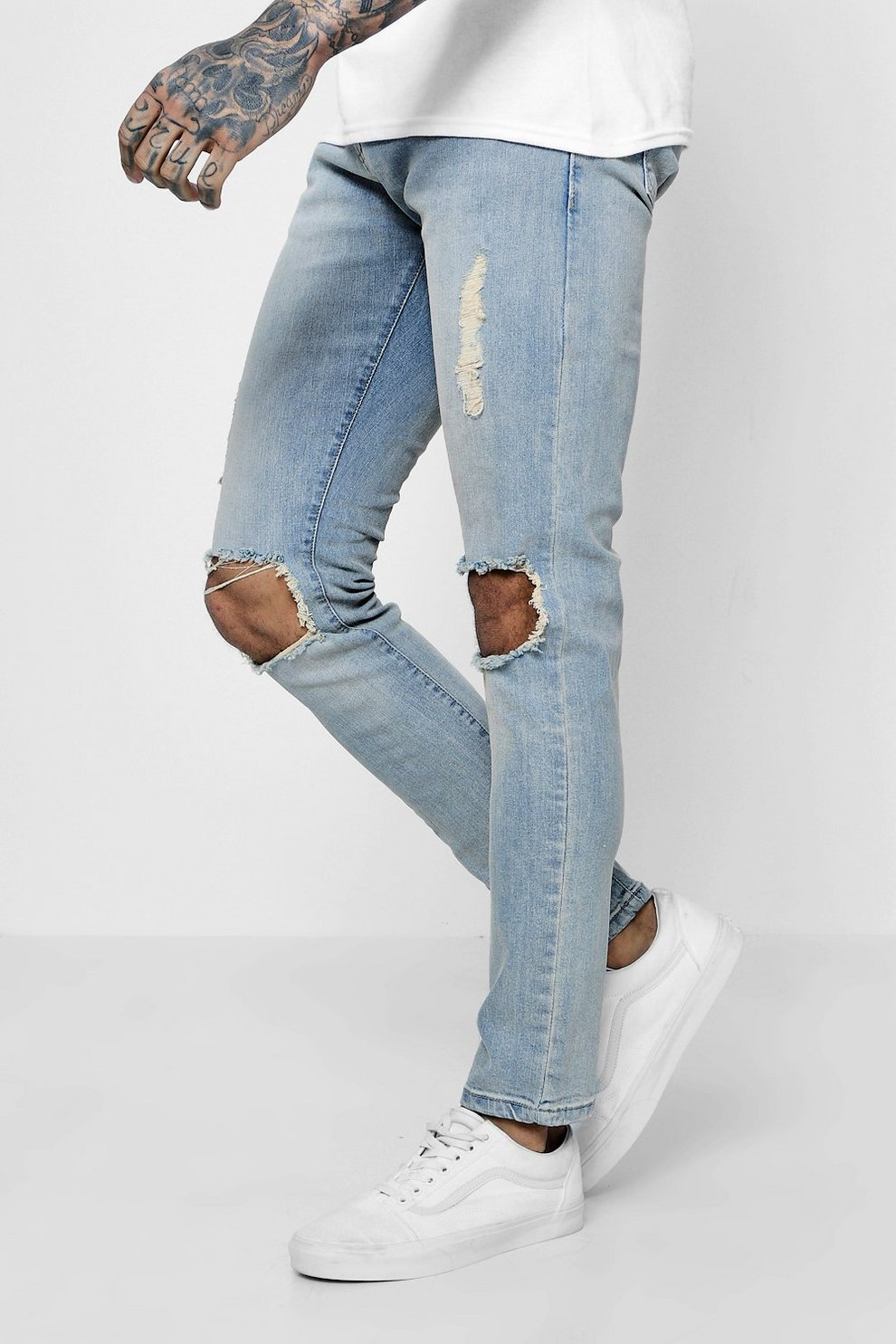 547fbff0d99c Mens Light blue Skinny Fit Light Blue Jeans With Ripped Knees