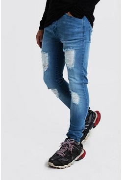 Washed blue Super Skinny Jeans With Distressed Knees