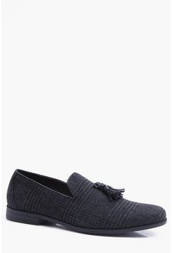 Grey Checked Tassel Loafer