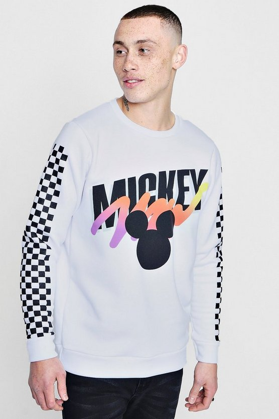 White Disney Mickey Sweater With Checkerboard Sleeve