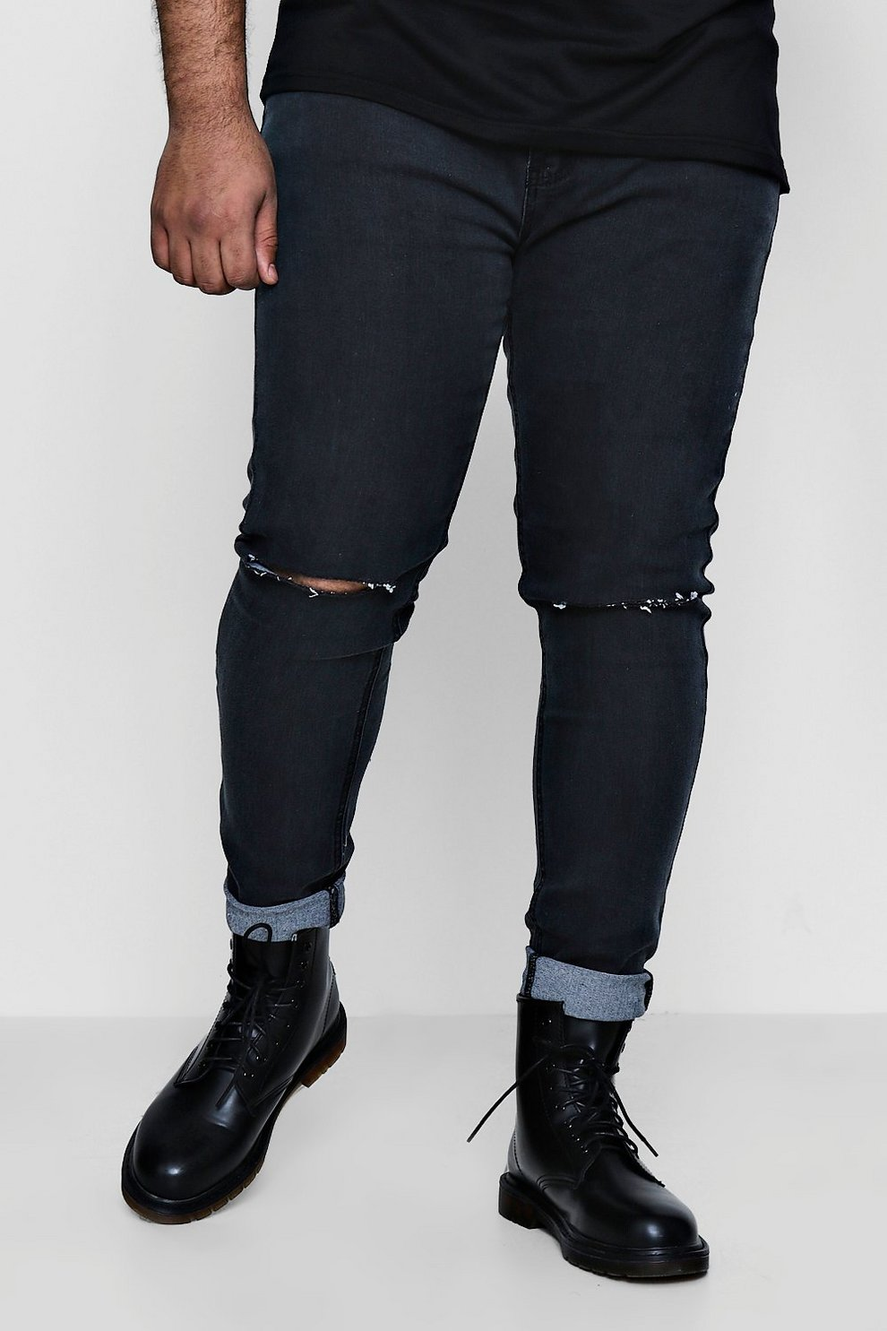2b045d3f22 Big And Tall Ripped Knee Skinny Jeans. Hover to zoom