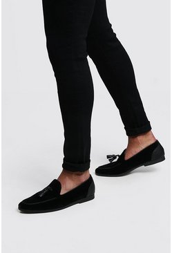 Mens Black Faux Suede Tassel Loafer