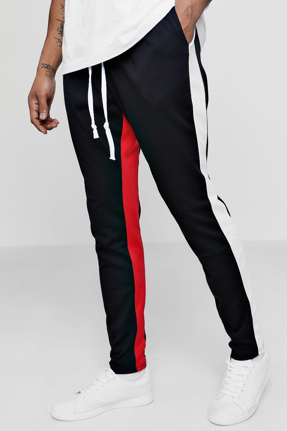 d6b7ef0f87e303 Mens Black Skinny Fit Panel Joggers. Hover to zoom