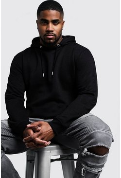 Black Big And Tall Basic Over The Head Fleece Hoodie