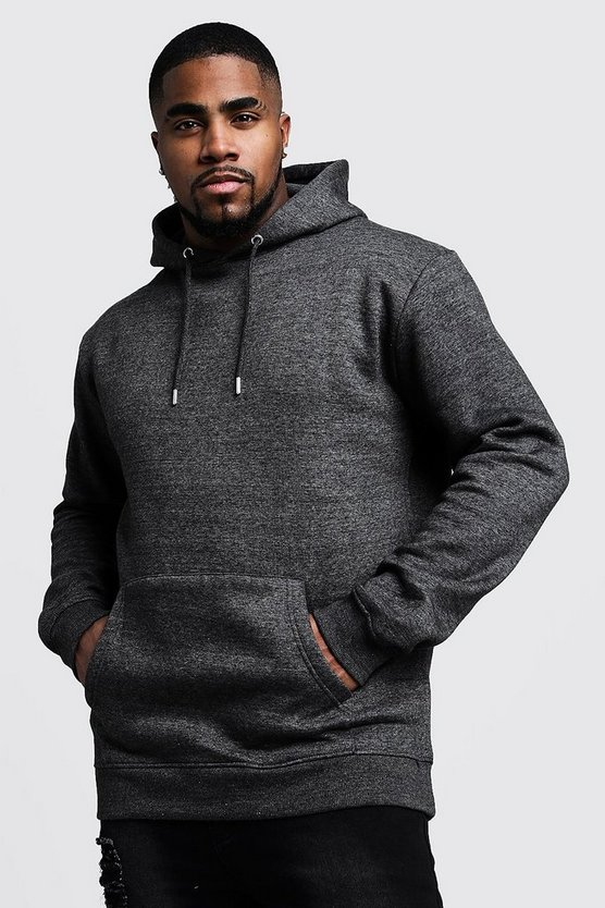 Mens Charcoal Big And Tall Basic Over The Head Fleece Hoodie