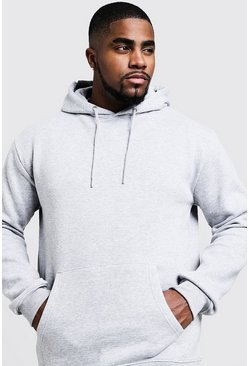 Mens Grey Big And Tall Basic Over The Head Fleece Hoodie