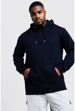 Navy Big And Tall Basic Over The Head Fleece Hoodie