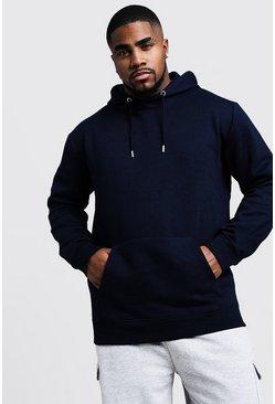 Navy Big And Tall Basic Over The Head Fleece Hoodie