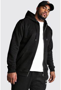 Black Big And Tall Basic Zip Through Fleece Hoodie