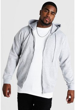 Grey Plus Size Basic Zip Through Fleece Hoodie