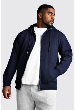 Navy Big And Tall Basic Zip Through Fleece Hoodie
