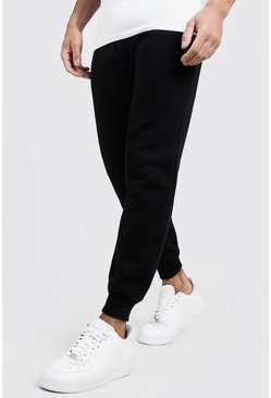 Slim-Fit Fleece-Jogginghose, Schwarz