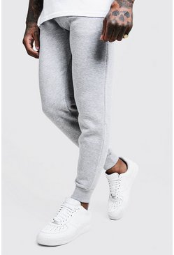 Basic Skinny Fit Jogginghose aus Fleece, Grau