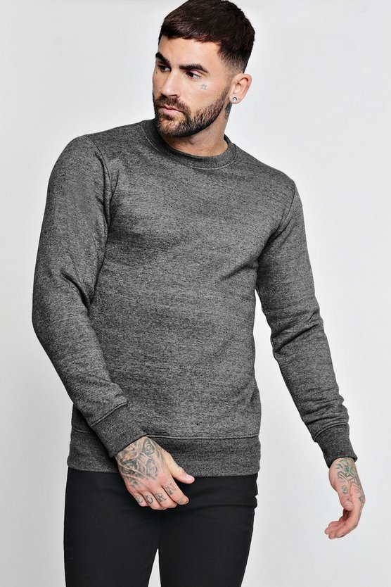 Charcoal Basic Crew Neck Fleece Sweatshirt