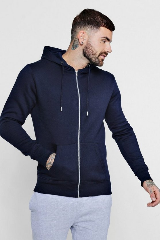 Mens Navy Basic Zip Through Fleece Hoodie