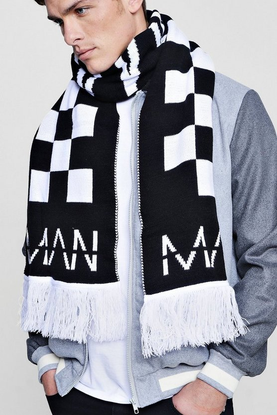 Mens Black Oversized MAN Checkered Scarf