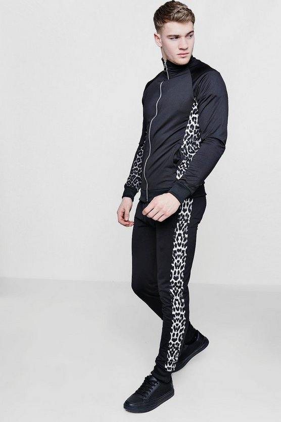 Mens Black Skinny Fit Leopard Funnel Tracksuit