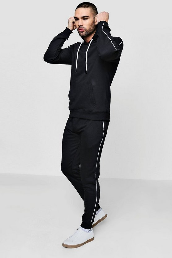 Mens Skinny Fit Hooded Tracksuit With Piping