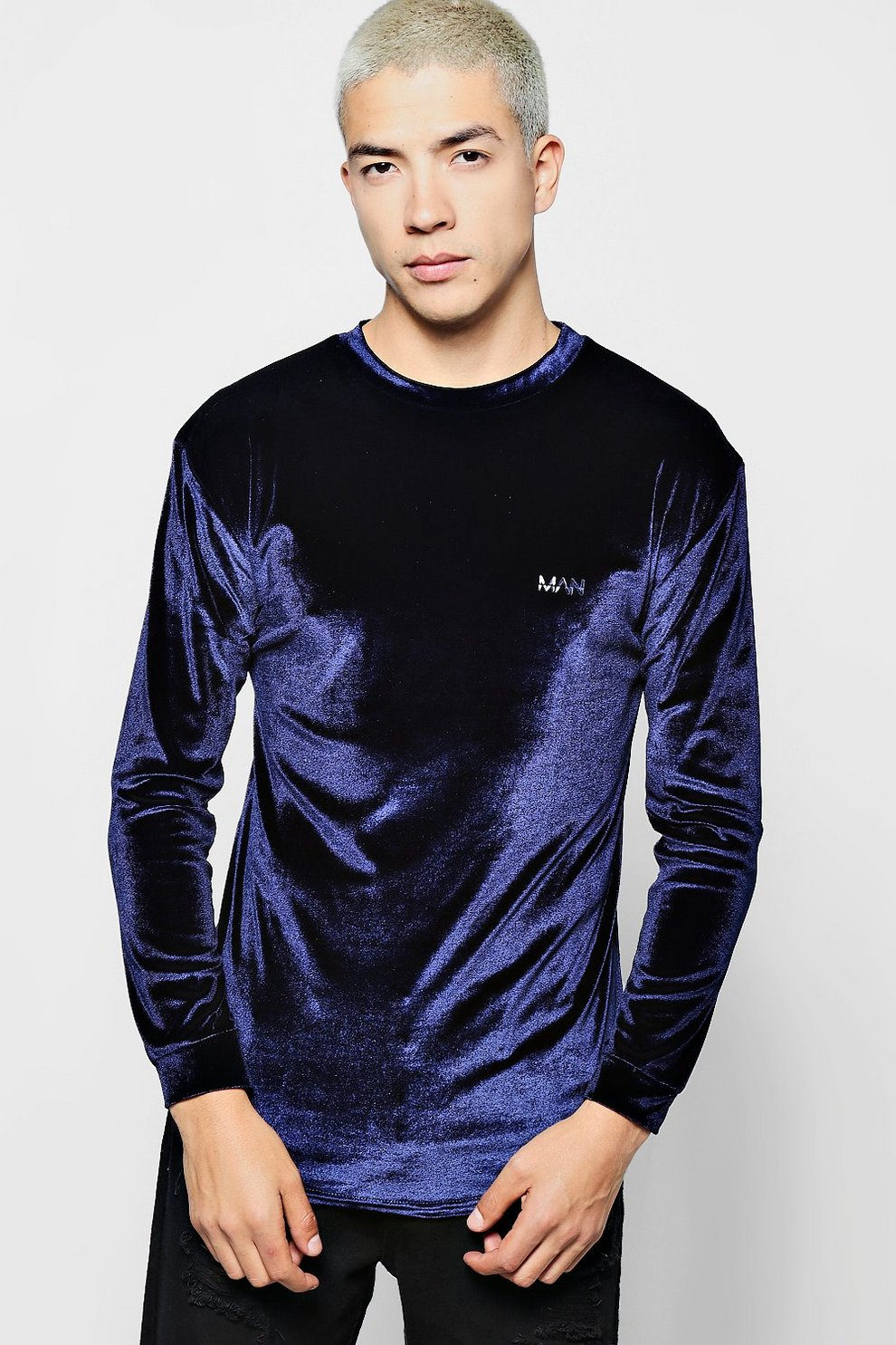 a69e4cbd Mens Navy Long Sleeve MAN Velour T-Shirt in Muscle Fit. Hover to zoom