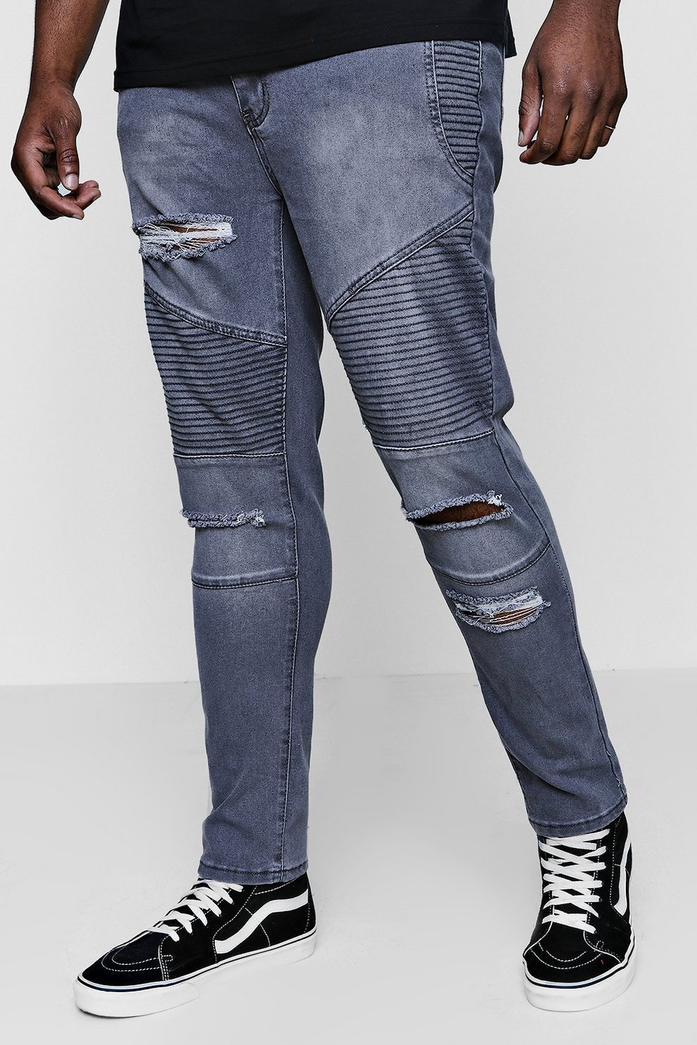 dabc8648 Big And Tall Skinny Fit Ripped Biker Jeans. Hover to zoom