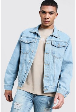 Mens Stonewash Boxy Denim Western Jacket