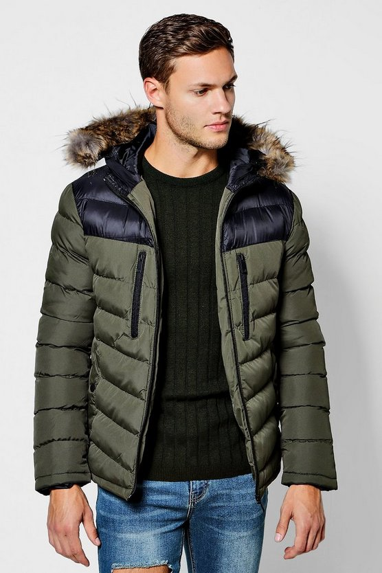 Mens Khaki Colour Block Faux Fur Trim Hooded Puffer