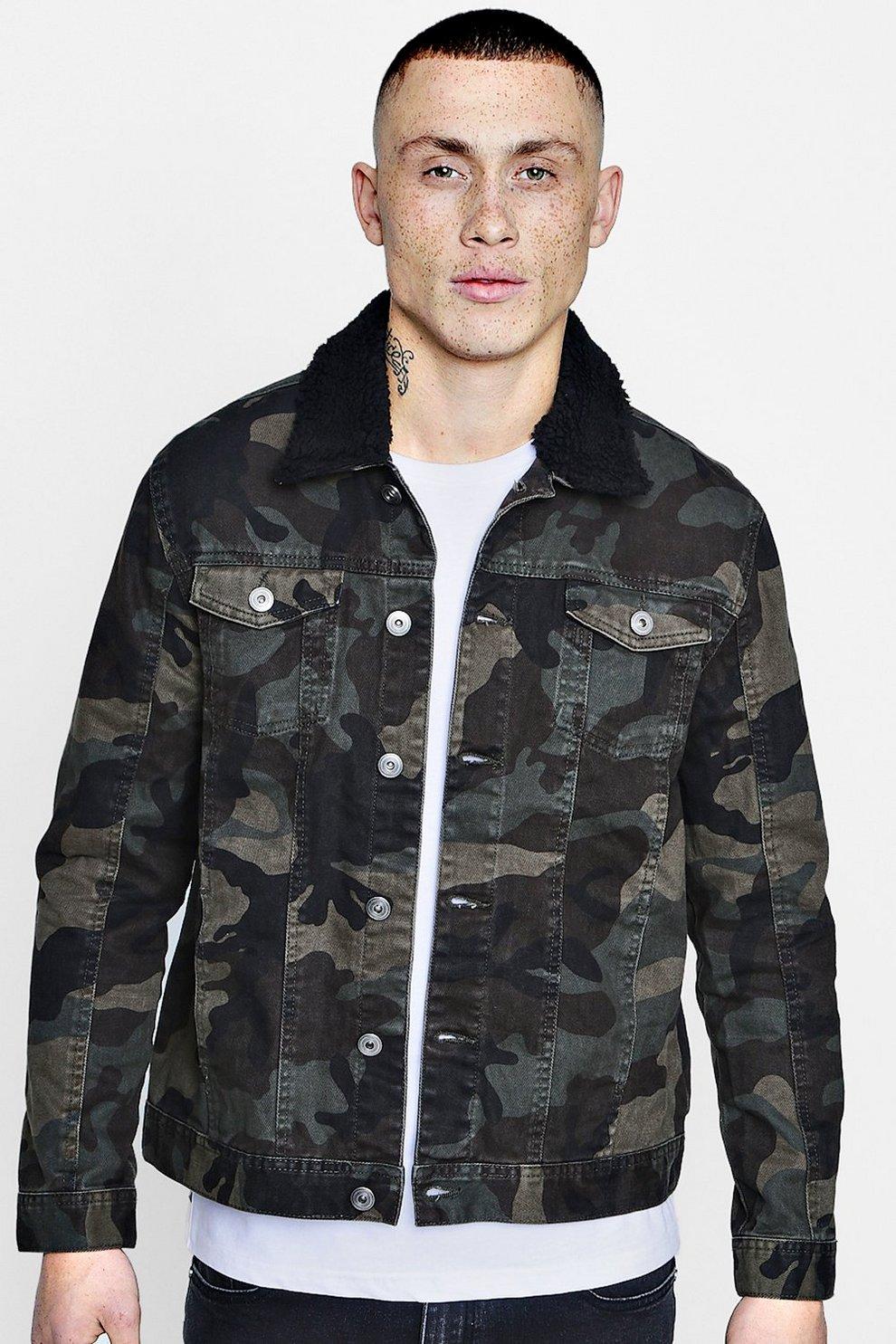 1042621b498e8 Camo Denim Jacket With Borg Collar - boohooMAN