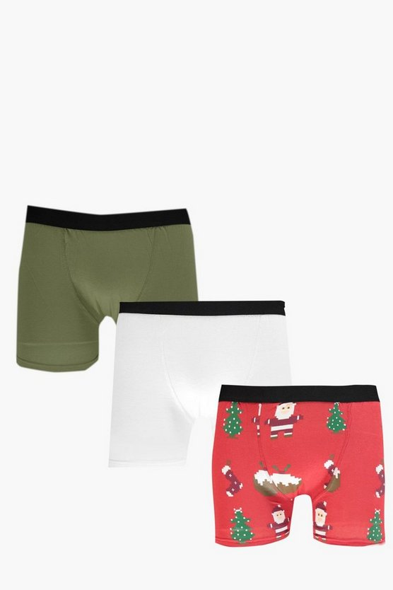 Mens Multi 3 Pack Christmas Emoji Boxers