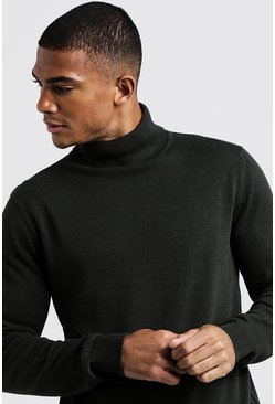 Mens Khaki Roll Neck Sweater