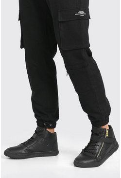 Black Faux Snake Zip High Top