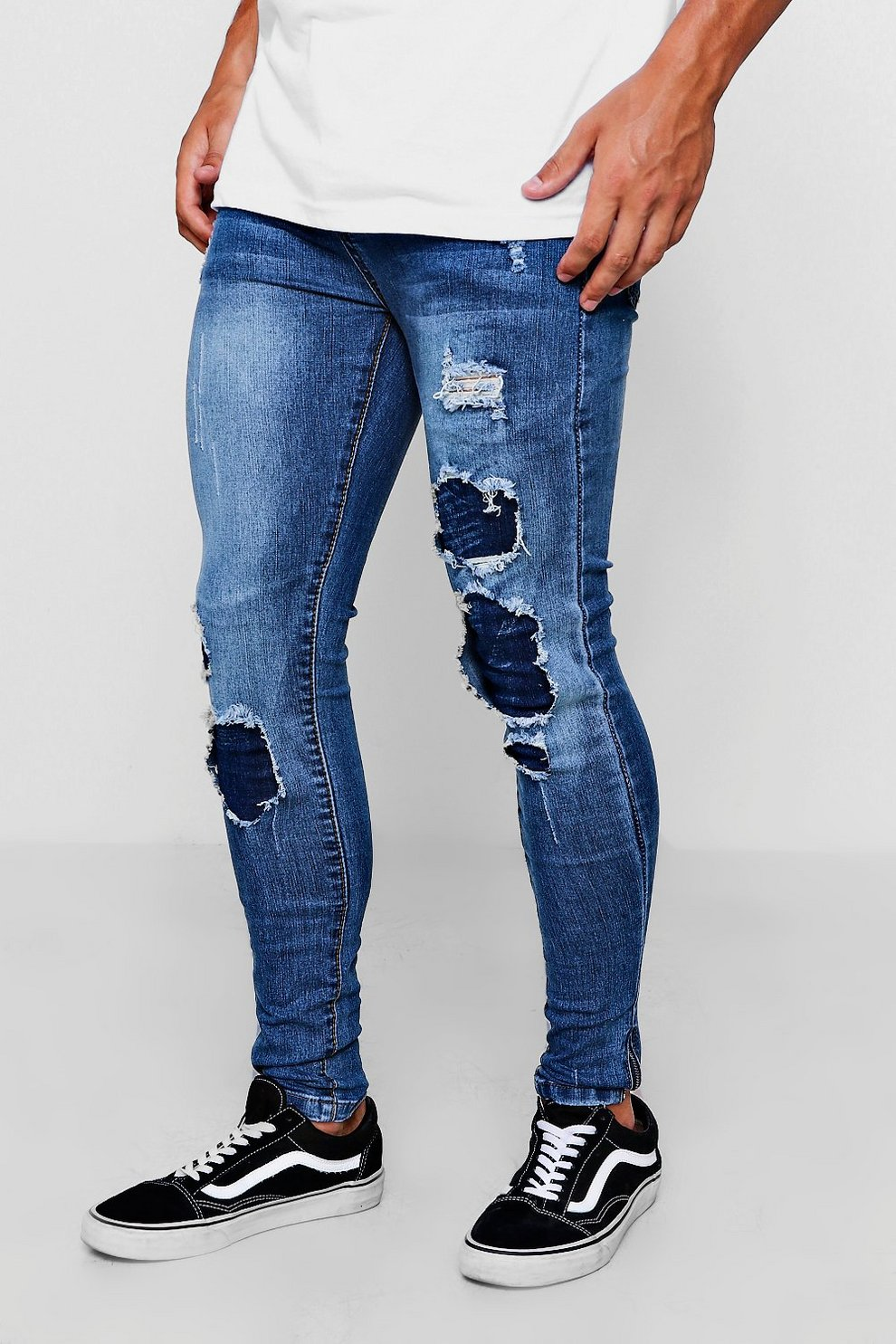 fb455016b7bd Mens Mid blue Spray On Skinny Jeans With Multi Rip And Repair