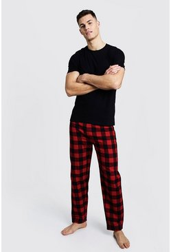 Mens Red Brushed Man Pyjama Pants with Tee Set