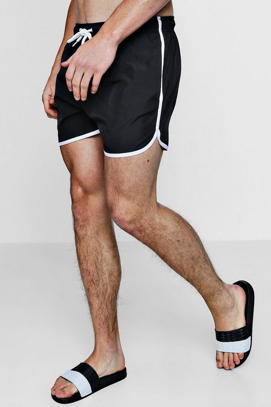 Mens Black Runner Swim Shorts
