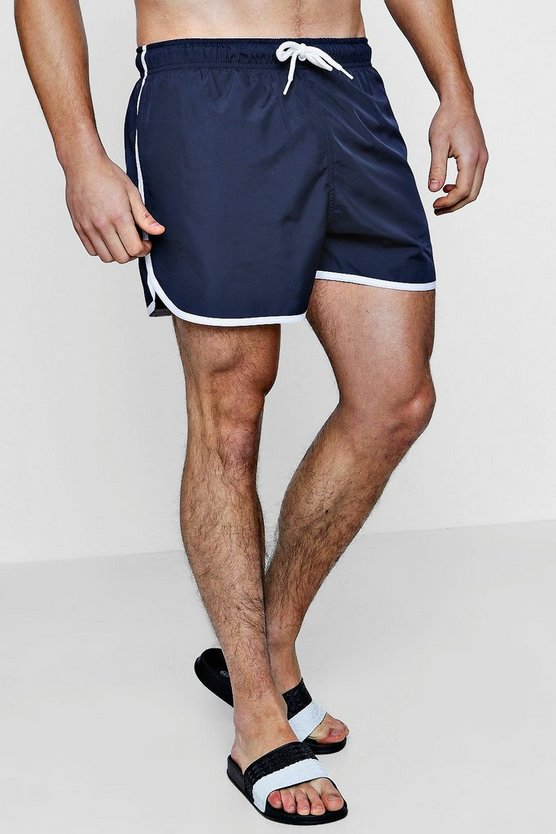 Mens Navy Runner Swim Shorts