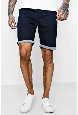Mens Navy Chino Shorts With Stripe Turn Up