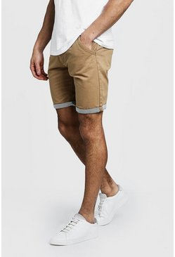 Mens Stone Chino Shorts With Stripe Turn Up